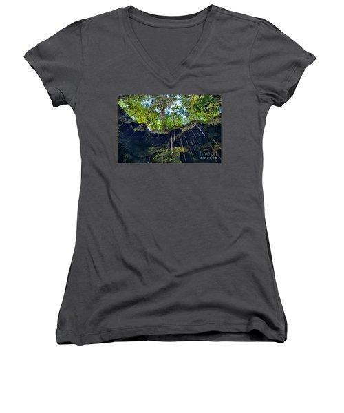 Women's V-Neck T-Shirt (Junior Cut) featuring the photograph Underground by DJ Florek