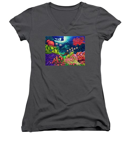 Women's V-Neck T-Shirt (Junior Cut) featuring the painting Undersea Creatures Vii by Michael Frank