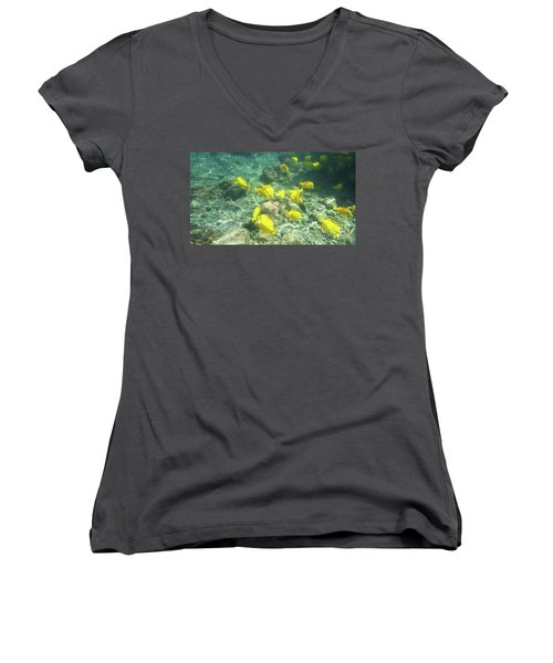 Underwater Yellow Tang Women's V-Neck (Athletic Fit)