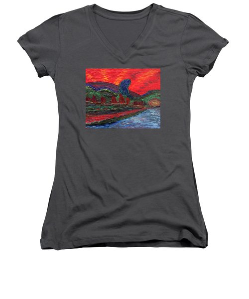 Undiscovered Great Ocean Of Truth Women's V-Neck T-Shirt (Junior Cut) by Vadim Levin
