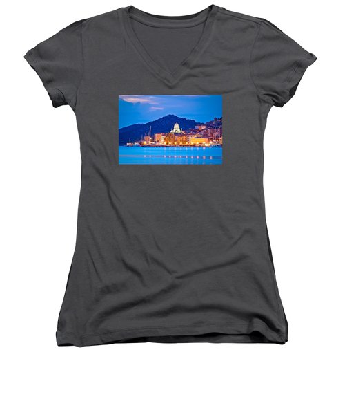 Unesco Town Of Sibenik Blue Hour View Women's V-Neck T-Shirt