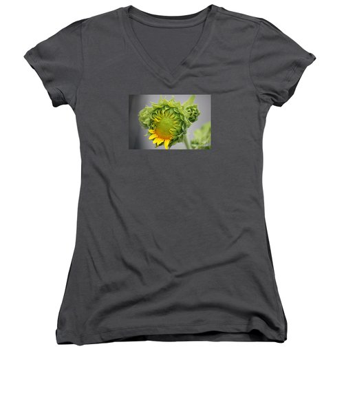 Unfolding Sunflower Women's V-Neck (Athletic Fit)