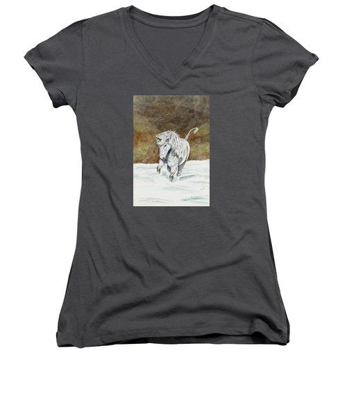 Unicorn Icelandic Women's V-Neck T-Shirt (Junior Cut) by Shari Nees