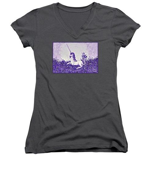 Unicorn In Purple Women's V-Neck T-Shirt (Junior Cut) by Lise Winne