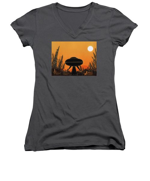 Unidentified Flying Object Landing Women's V-Neck T-Shirt