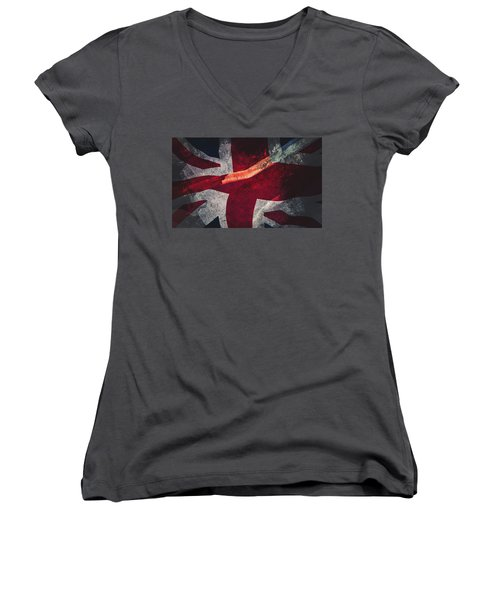 Union Jack Fine Art, Abstract Vision Of Great Britain Flag Women's V-Neck