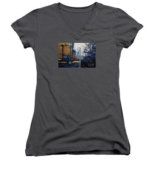 Union Pacific 1474 Women's V-Neck T-Shirt (Junior Cut) by David Blank