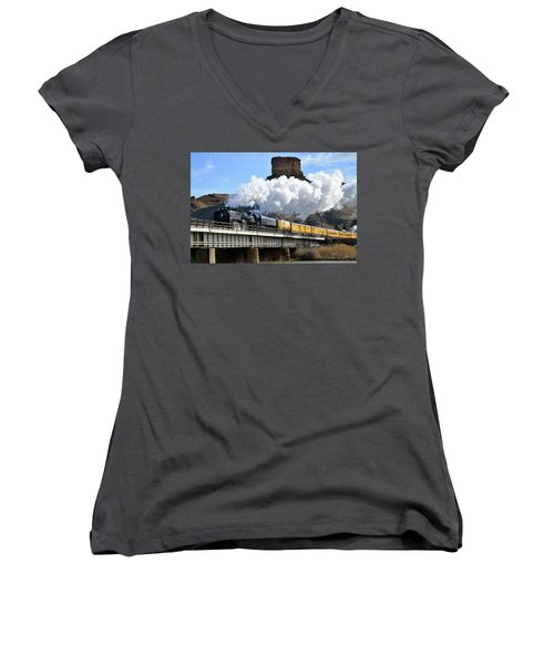 Union Pacific Steam Engine 844 And Castle Rock Women's V-Neck T-Shirt