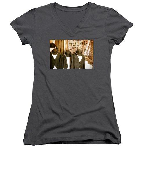 Union Vintage Clothing Women's V-Neck T-Shirt (Junior Cut) by Steven Bateson
