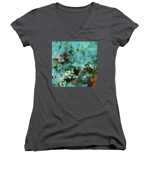 Women's V-Neck T-Shirt (Junior Cut) featuring the painting Unique Abstract Art / Landscape Painting by Ayse Deniz