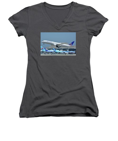 Women's V-Neck T-Shirt (Junior Cut) featuring the photograph United Boeing 787-9 N27965 Los Angeles International Airport May 3 2016 by Brian Lockett