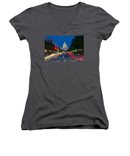 United States Capitol Along Pennsylvania Avenue In Washington, D.c.   Women's V-Neck