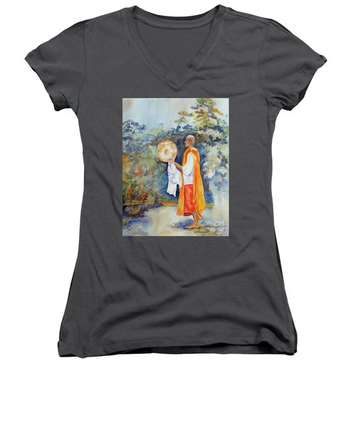 Women's V-Neck T-Shirt (Junior Cut) featuring the painting Unity by Mary Haley-Rocks