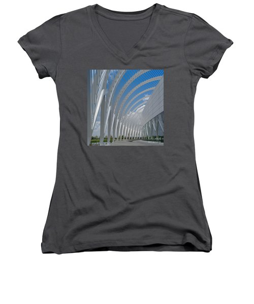 University Arching Lines Women's V-Neck (Athletic Fit)