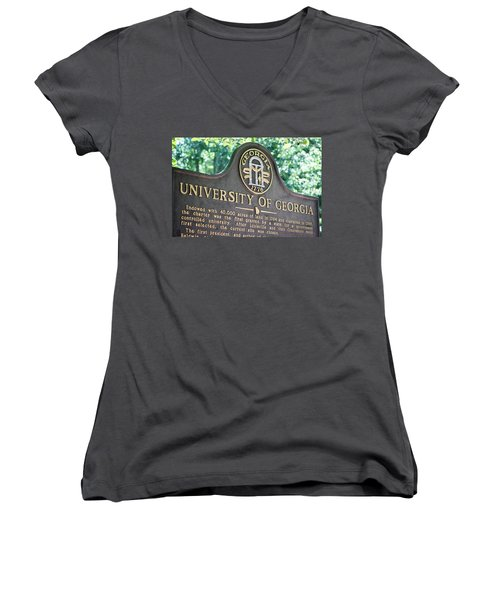 Women's V-Neck T-Shirt (Junior Cut) featuring the photograph University Of Georgia Sign by Parker Cunningham