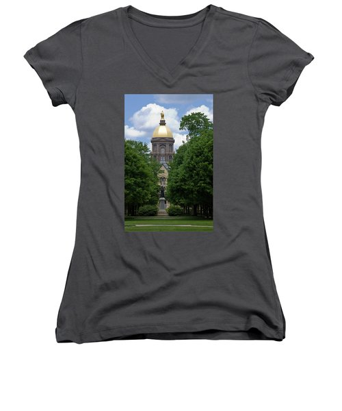 University Of Notre Dame Golden Dome Women's V-Neck T-Shirt (Junior Cut) by Sally Weigand