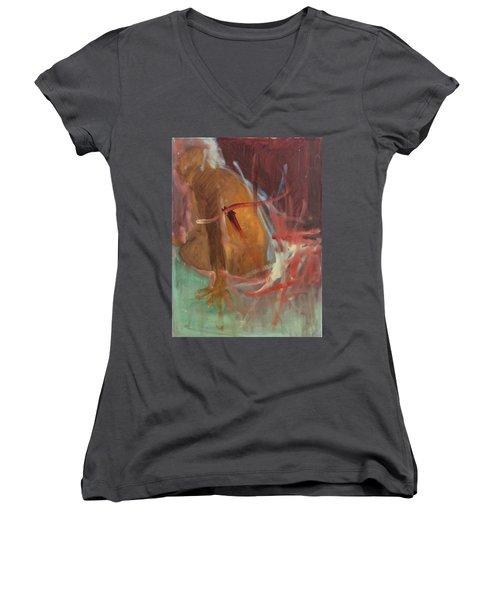 Unquiet Women's V-Neck T-Shirt (Junior Cut) by Daun Soden-Greene