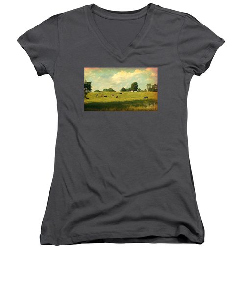 Until The Cows Come Home Women's V-Neck T-Shirt