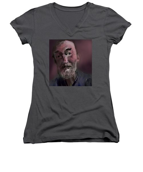 Women's V-Neck T-Shirt (Junior Cut) featuring the painting Untitled - 26nov2016 by Jim Vance