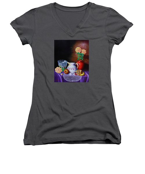 Nostalgic Vision Women's V-Neck T-Shirt (Junior Cut) by Gene Gregory