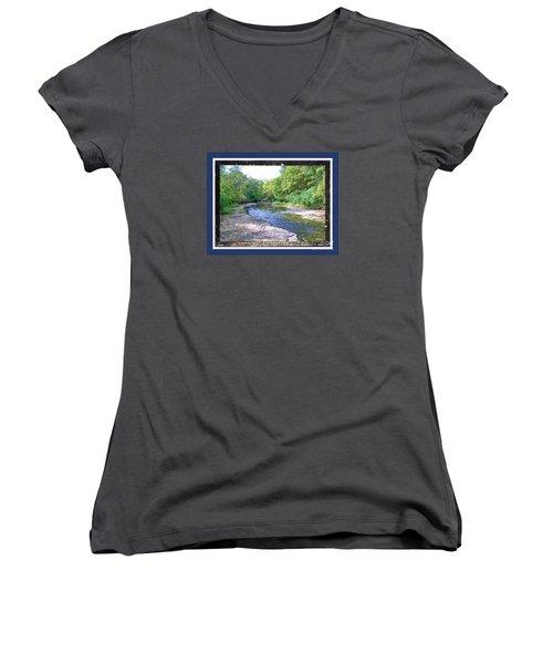 Women's V-Neck T-Shirt (Junior Cut) featuring the photograph Up A Creek by Shirley Moravec