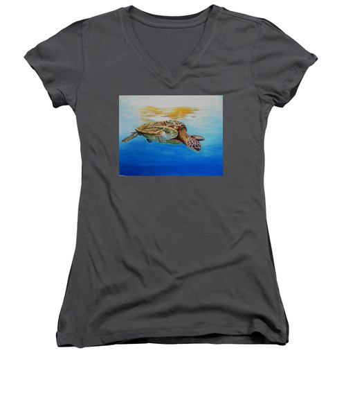 Women's V-Neck T-Shirt (Junior Cut) featuring the painting Up For Some Rays by Ceci Watson
