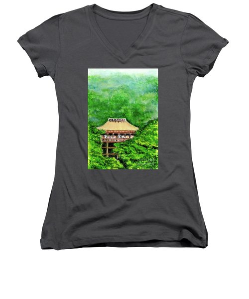 Women's V-Neck T-Shirt (Junior Cut) featuring the painting Up High Temple by Yoshiko Mishina