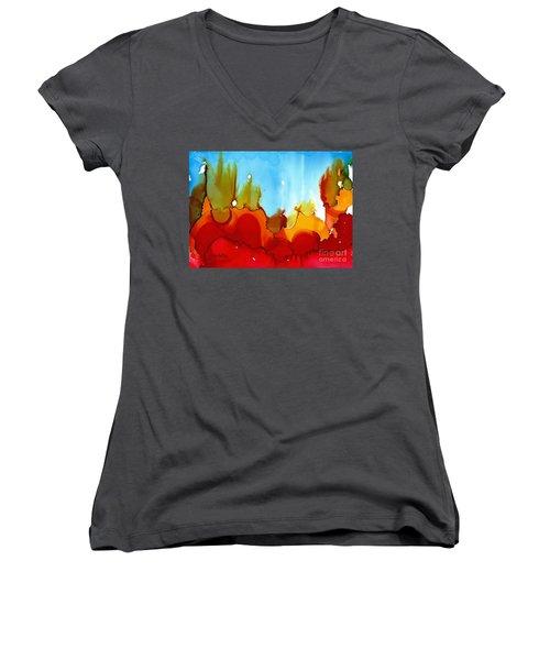 Up In Flames Women's V-Neck T-Shirt (Junior Cut) by Yolanda Koh