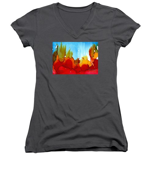 Up In Flames Women's V-Neck T-Shirt