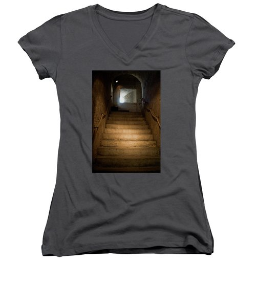 Women's V-Neck T-Shirt (Junior Cut) featuring the photograph Up The Ancient Stairs by Lorraine Devon Wilke