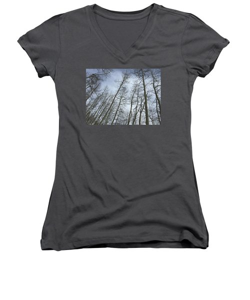 Up Through The Aspens Women's V-Neck T-Shirt (Junior Cut) by Christin Brodie
