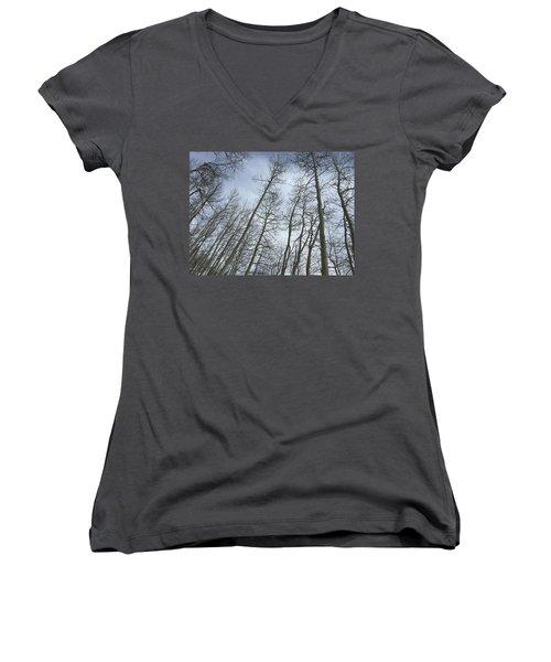 Up Through The Aspens Women's V-Neck T-Shirt