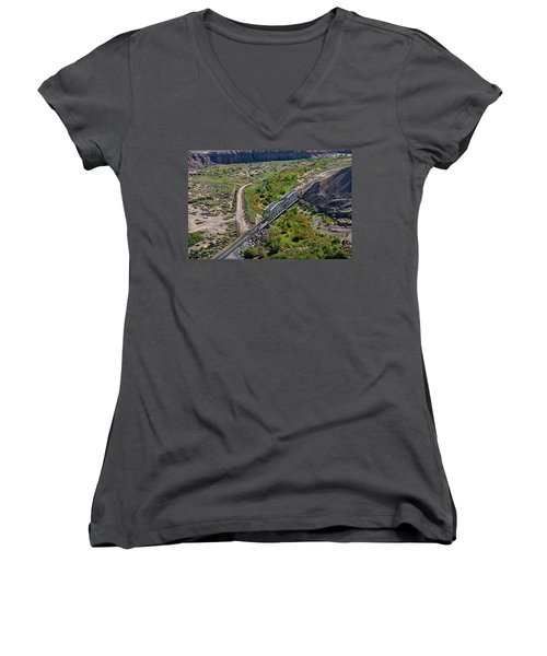 Women's V-Neck featuring the photograph Up Tracks Cross The Mojave River by Jim Thompson