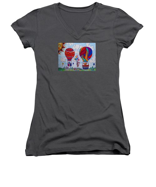 Up Up And Away Women's V-Neck T-Shirt (Junior Cut) by Megan Walsh