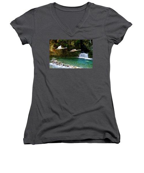 Upper Margaret Falls Women's V-Neck T-Shirt (Junior Cut) by Ed Hall