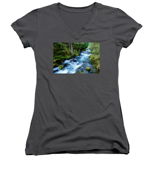 Upper Mckenzie Women's V-Neck T-Shirt (Junior Cut) by Sean Griffin