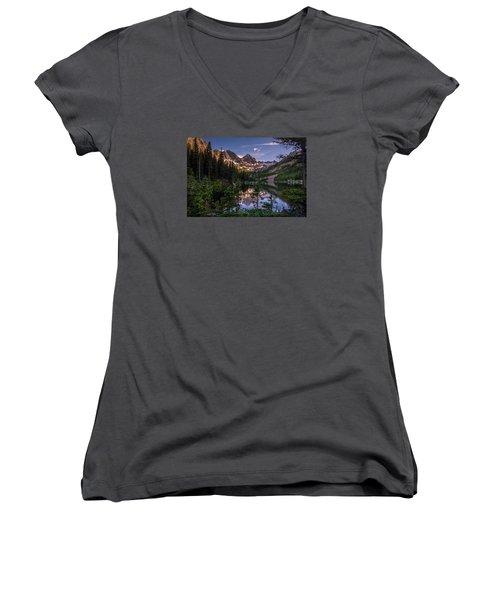Upper Slate Lake Evening Glow Women's V-Neck T-Shirt (Junior Cut) by Michael J Bauer