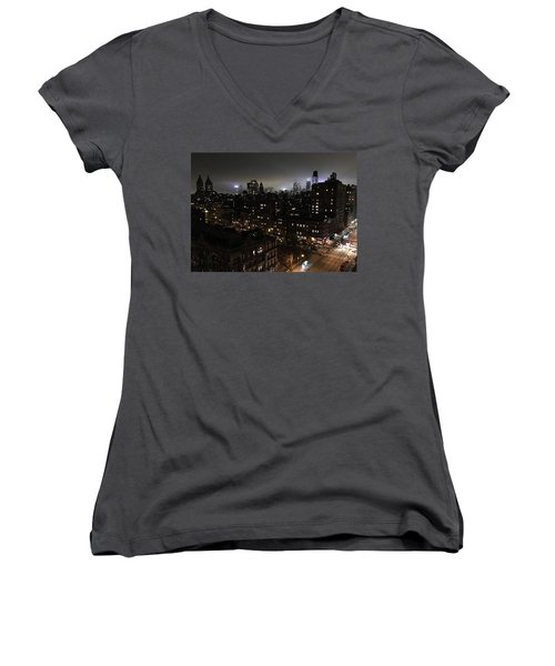 Women's V-Neck T-Shirt (Junior Cut) featuring the photograph Upper West Side by JoAnn Lense