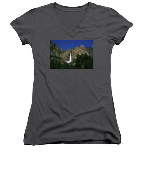 Upper Yosemite Falls Under The Stairs Women's V-Neck