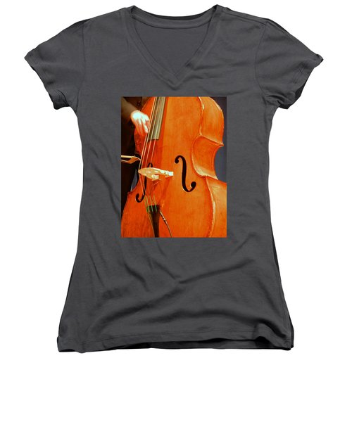 Upright Bass 3 Women's V-Neck (Athletic Fit)