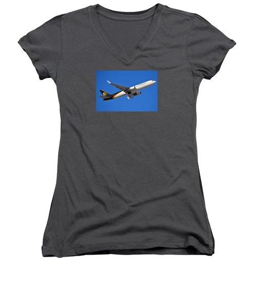 Ups Boeing 767-34af N332up Phoenix Sky Harbor January 12 2015 Women's V-Neck T-Shirt (Junior Cut)