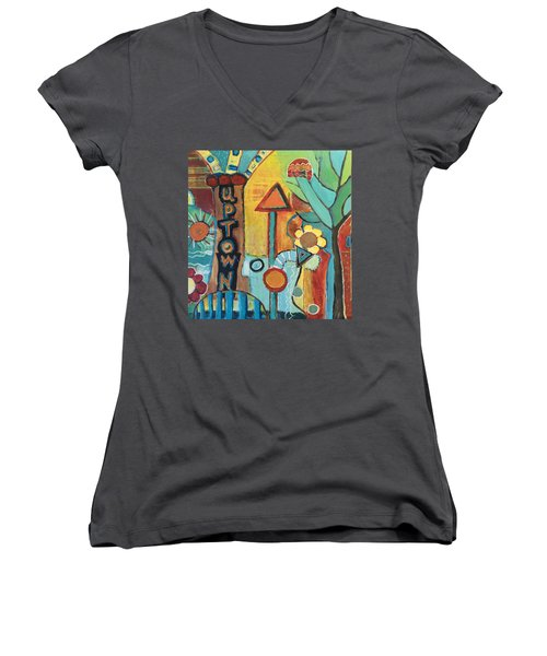 Uptown Dream World Women's V-Neck T-Shirt