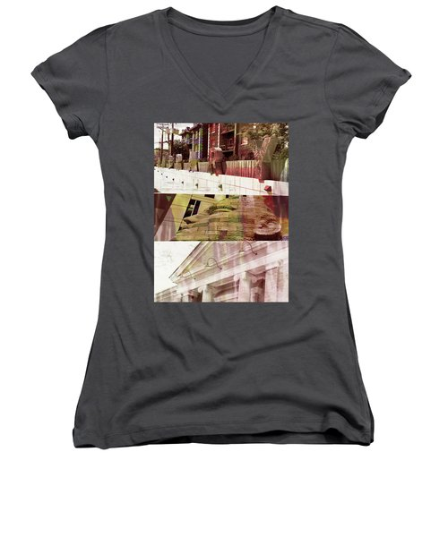 Women's V-Neck T-Shirt (Junior Cut) featuring the photograph Uptown Library With Color by Susan Stone