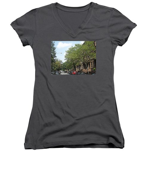 Women's V-Neck T-Shirt (Junior Cut) featuring the photograph Uptown Ny Street by Vannetta Ferguson