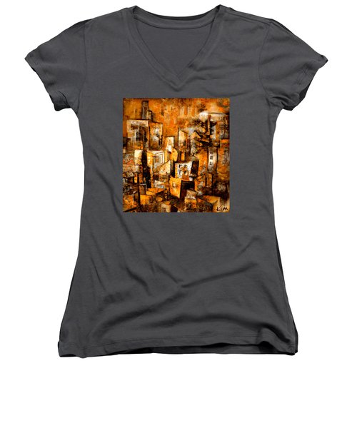 Women's V-Neck T-Shirt (Junior Cut) featuring the mixed media Urban Abstract #1 by Kim Gauge