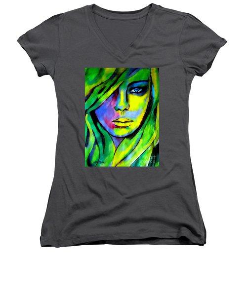 Urban Camouflage Women's V-Neck T-Shirt (Junior Cut) by Helena Wierzbicki
