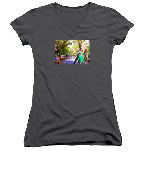 Women's V-Neck T-Shirt (Junior Cut) featuring the painting Urban Dancers  by Judy Kay