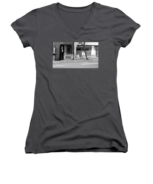 Women's V-Neck T-Shirt (Junior Cut) featuring the photograph Urban Encounter by Valentino Visentini