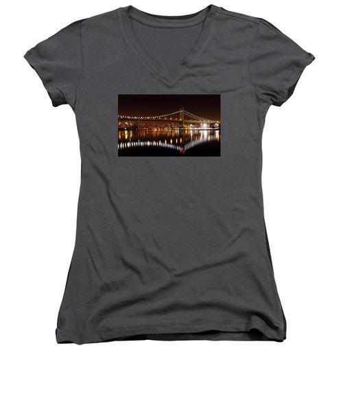 Urban Night Reflection Women's V-Neck T-Shirt