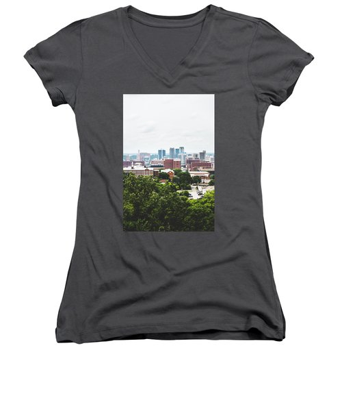 Women's V-Neck T-Shirt (Junior Cut) featuring the photograph Urban Scenes In Birmingham  by Shelby Young